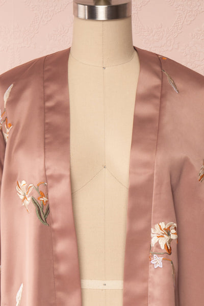 Lyria Taupe Satin Floral 3/4 Sleeve Kimono | Boutique 1861 front close up