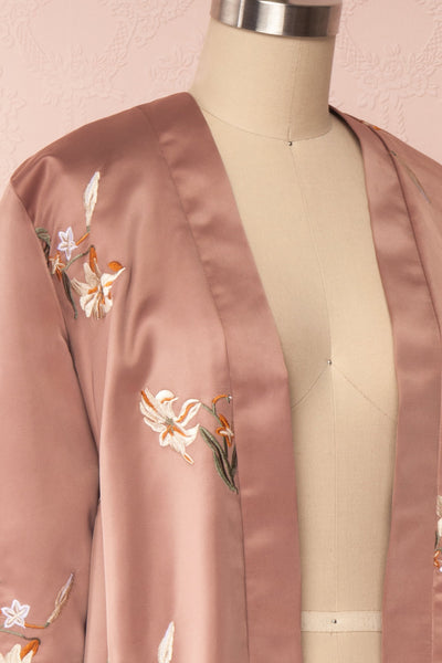 Lyria Taupe Satin Floral 3/4 Sleeve Kimono | Boutique 1861 side close up