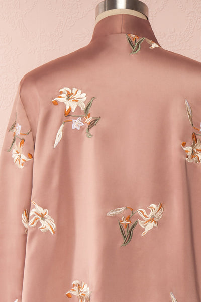 Lyria Taupe Satin Floral 3/4 Sleeve Kimono | Boutique 1861 back close up
