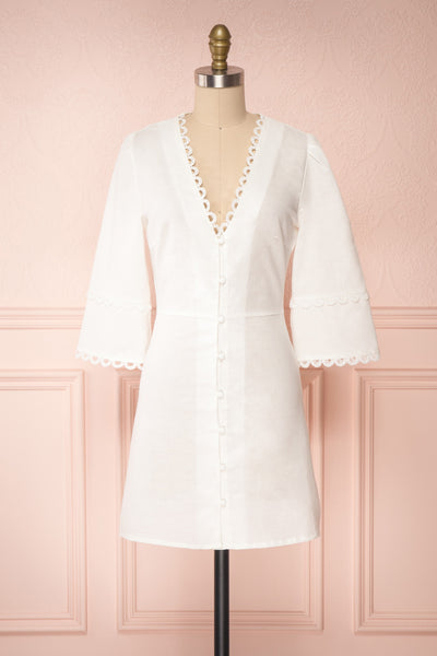 Lysistrata White Short Dress w/ 3/4 Sleeves | Boutique 1861 front view