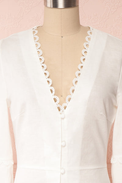 Lysistrata White Short Dress w/ 3/4 Sleeves | Boutique 1861 front close up