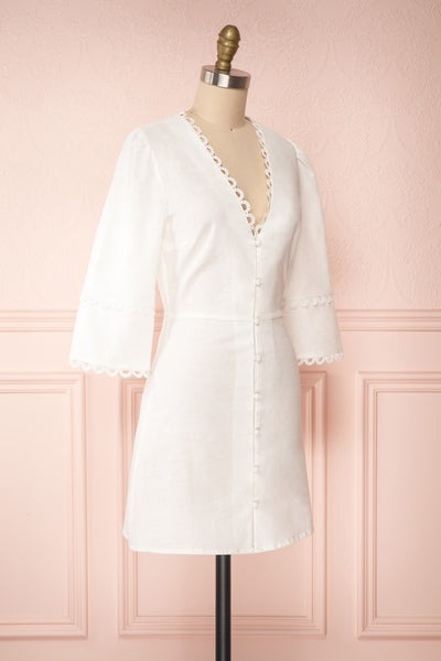 Lysistrata White Short Dress w/ 3/4 Sleeves | Boutique 1861 side view