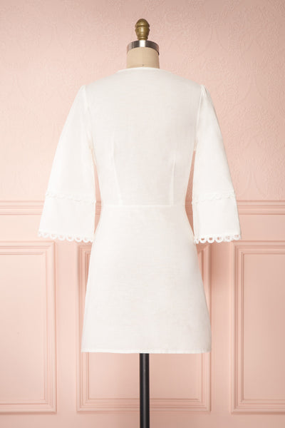 Lysistrata White Short Dress w/ 3/4 Sleeves | Boutique 1861 back view