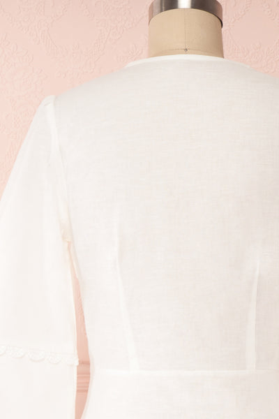 Lysistrata White Short Dress w/ 3/4 Sleeves | Boutique 1861 back close up