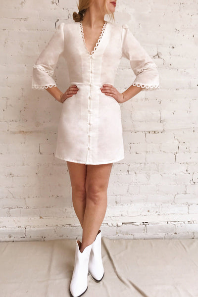 Lysistrata White Short Dress w/ 3/4 Sleeves | Boutique 1861 on model