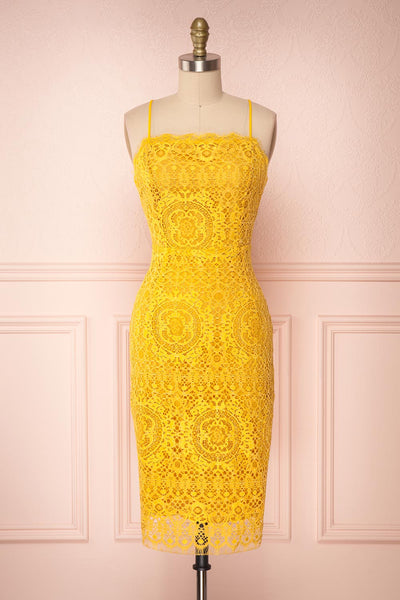 Lyudmyla Yellow Lace Cocktail Dress with Lace-Up Back | Boutique 1861 front view