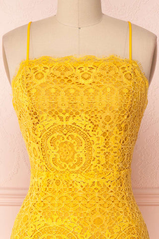 Lyudmyla Yellow Lace Cocktail Dress with Lace-Up Back | Boutique 1861 front close-up
