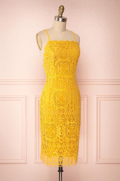 Lyudmyla Yellow Lace Cocktail Dress with Lace-Up Back | Boutique 1861 side view