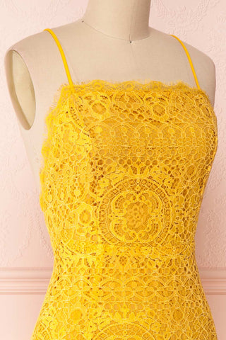 Lyudmyla Yellow Lace Cocktail Dress with Lace-Up Back | Boutique 1861 side close-up