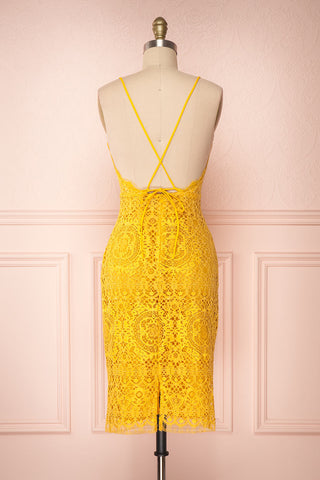 Lyudmyla Yellow Lace Cocktail Dress with Lace-Up Back | Boutique 1861 back view