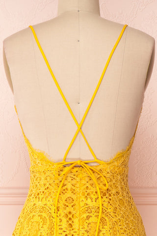 Lyudmyla Yellow Lace Cocktail Dress with Lace-Up Back | Boutique 1861 back close-up