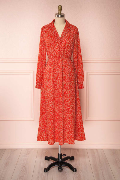 Lyyti Red Floral Long Sleeved Midi Dress  | Boutique 1861
