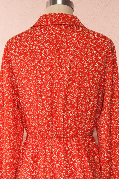 Lyyti Red Floral Long Sleeved Midi Dress back close up | Boutique 1861