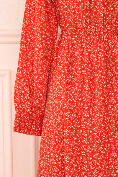 Lyyti Red Floral Long Sleeved Midi Dress sleeves | Boutique 1861