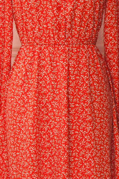 Lyyti Red Floral Long Sleeved Midi Dress fabric | Boutique 1861