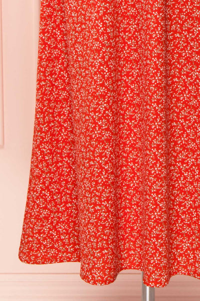 Lyyti Red Floral Long Sleeved Midi Dress skirt | Boutique 1861