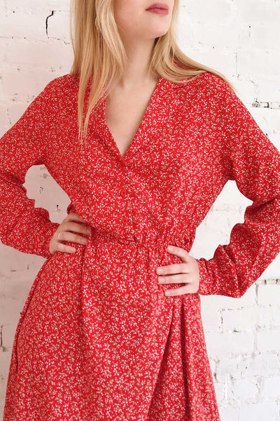 Lyyti Red Floral Long Sleeved Midi Dress | Boutique 1861 on model