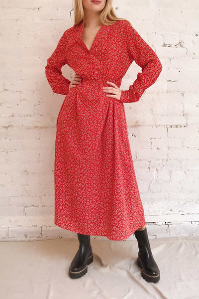 Lyyti Red Floral Long Sleeved Midi Dress | Boutique 1861 model look