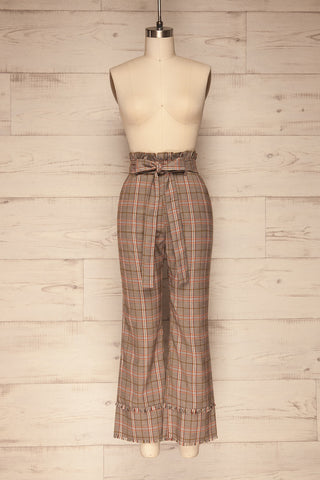 Macclesfield Grey & Red Plaid Pants | La Petite Garçonne front view