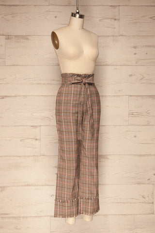 Macclesfield Grey & Red Plaid Pants | La Petite Garçonne side view