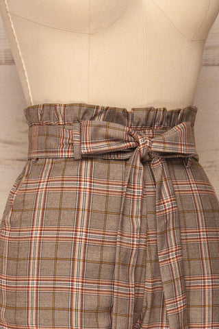 Macclesfield Grey & Red Plaid Pants | La Petite Garçonne side close-up