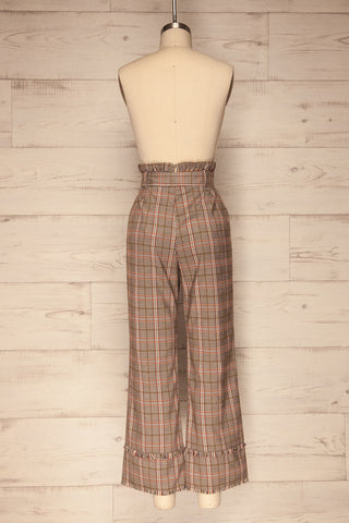 Macclesfield Grey & Red Plaid Pants | La Petite Garçonne back view