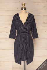 Macheren Navy Blue & White Striped Cocktail Dress | La Petite Garçonne