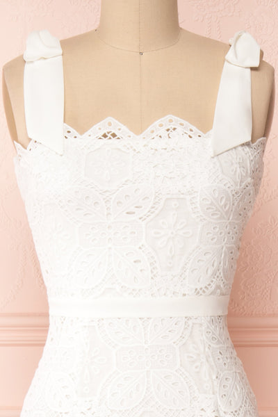 Madeline White Lace Bustier Midi Dress | Boutique 1861 front close-up