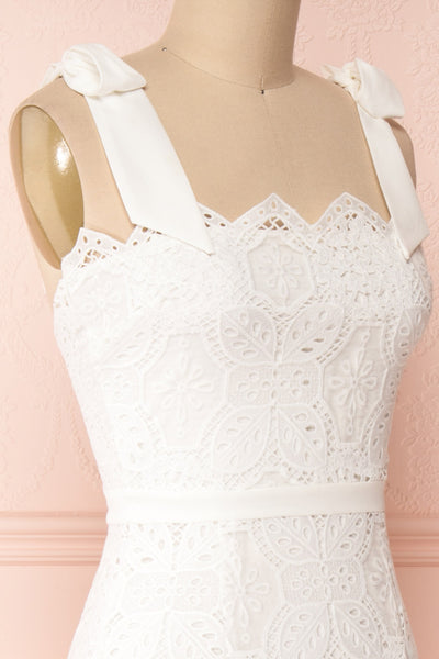Madeline White Lace Bustier Midi Dress | Boutique 1861 side close-up