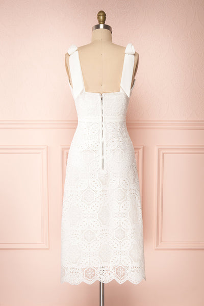 Madeline White Lace Bustier Midi Dress | Boutique 1861 back view