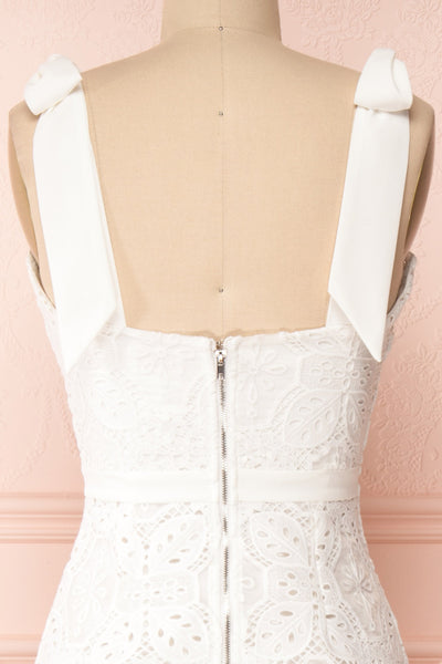 Madeline White Lace Bustier Midi Dress | Boutique 1861 back close-up