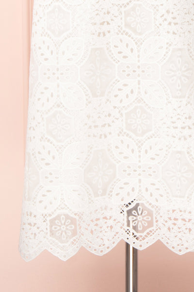 Madeline White Lace Bustier Midi Dress | Boutique 1861 bottom close-up