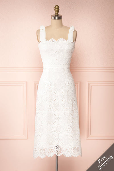 Madeline White Lace Bustier Midi Dress | Boutique 1861 front view