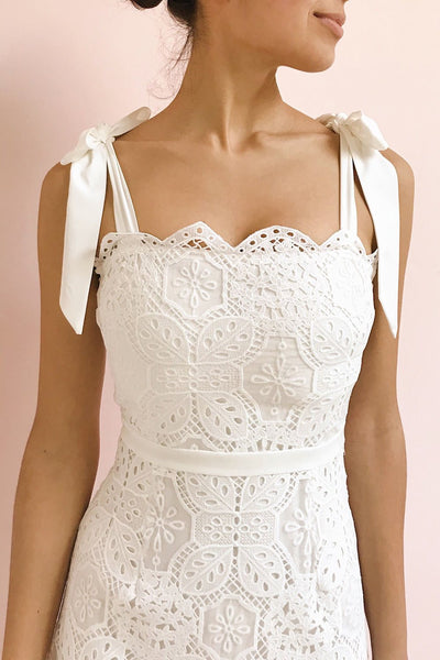 Madeline White Lace Midi Bustier Dress | Boutique 1861 model close up