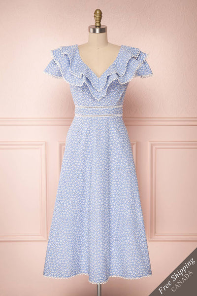 Madryn Blue & White Midi A-Line Dress with Ruffles | Boutique 1861