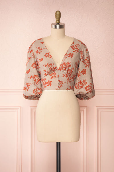Magdiel Floral Crop Top w/ Puff Sleeves front view | Boutique 1861