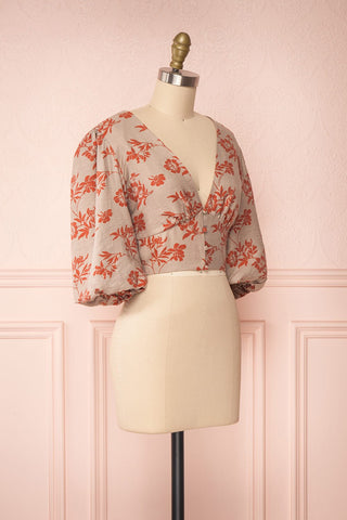Magdiel Floral Crop Top w/ Puff Sleeves side view | Boutique 1861