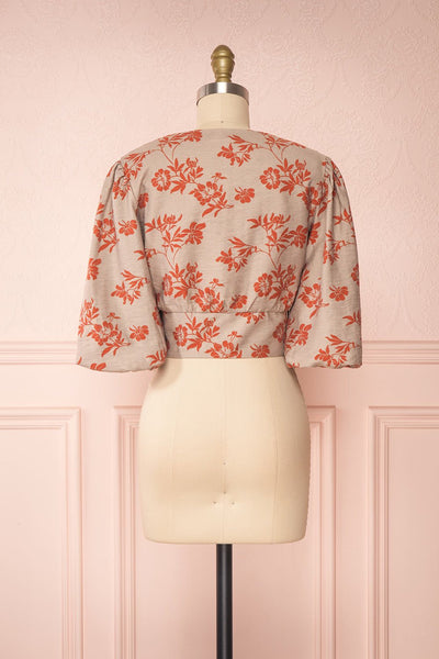 Magdiel Floral Crop Top w/ Puff Sleeves back view | Boutique 1861