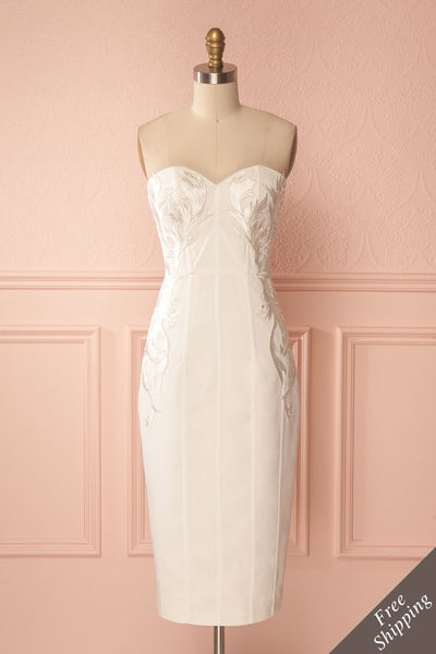 Magosia White Embroidered Bustier Dress | Boutique 1861