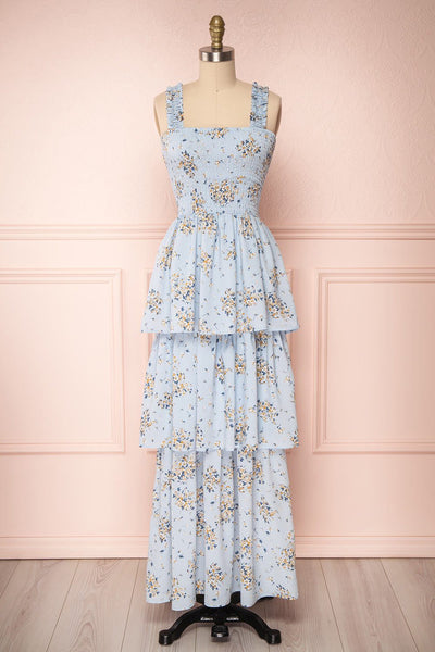Mahealani Light Blue Floral Layered A-Line Dress | Boutique 1861