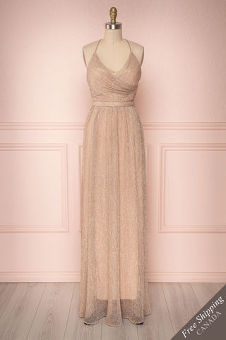 Mai-Lan Quartz Pink Tulle Gown with Plunging Neckline | Boutique 1861