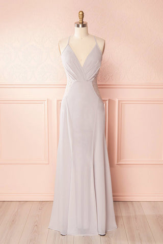Maï Brume Grey Halter Gown with Lace Side Cut-Outs front view | Boudoir 1861