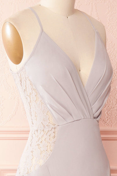 Maï Brume Grey Halter Gown with Lace Side Cut-Outs | Boudoir 1861