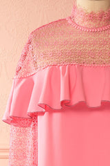 Maider Pink Shift Dress with Crocheted Lace Neckline