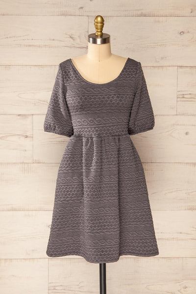 Maihori Short Grey Knitted Dress | La petite garçonne front view