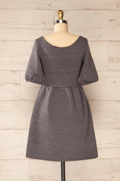 Maihori Short Grey Knitted Dress | La petite garçonne back view