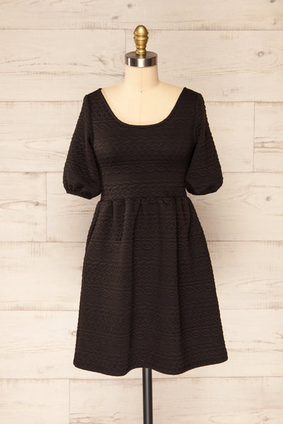 Maihori Black Short Knitted Dress w/ Pockets | La petite garçonne front view