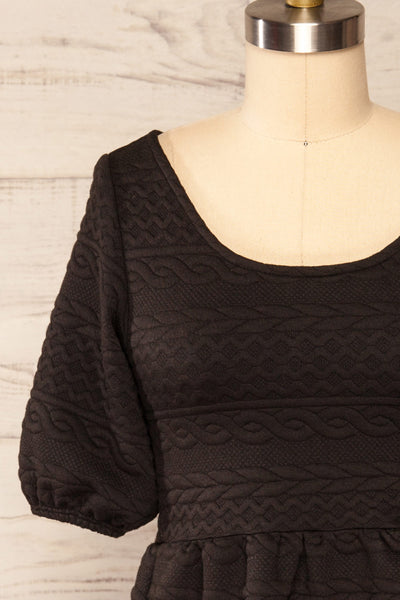 Maihori Black Short Knitted Dress w/ Pockets | La petite garçonne front close up