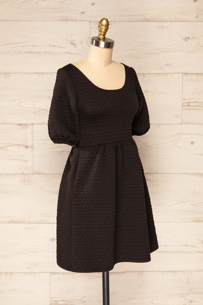 Maihori Black Short Knitted Dress w/ Pockets | La petite garçonne side view