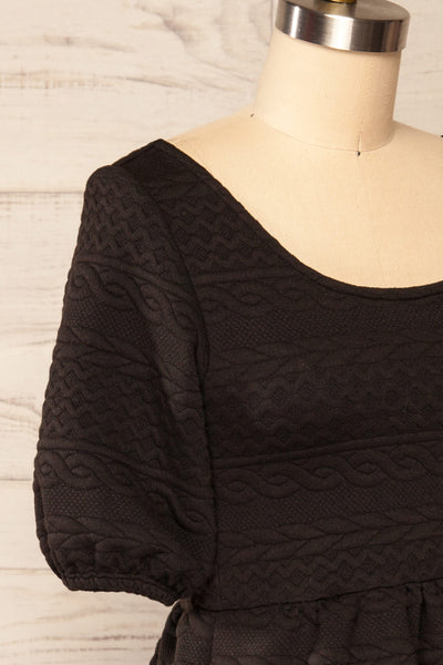 Maihori Black Short Knitted Dress w/ Pockets | La petite garçonne side close up
